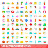 100 outdoor rest icons set, cartoon style. 100 outdoor rest icons set in cartoon style for any design vector illustration Stock Photo