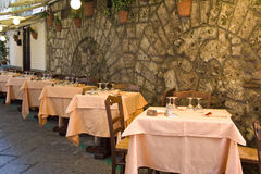 Outdoor restaurant. Outdoor touristic restaurant in Sorrento, Italy Royalty Free Stock Photography