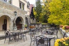 Outdoor restaurant. In sinaia, close to peles castle Stock Photos