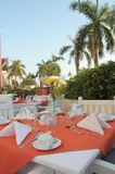 Outdoor restaurant. Outdoor buffet restaurant at tropical Stock Photography