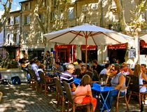 Outdoor restaurant, Avignon Stock Image