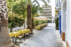 Outdoor restaurant in Barcelona. Cozy restaurant with  tables and chairs Stock Images