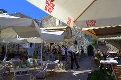 Outdoor restaurant,Budva,Montenegro Royalty Free Stock Photography