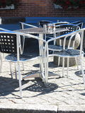 Outdoor restaurant  cafe chairs with table Stock Photo