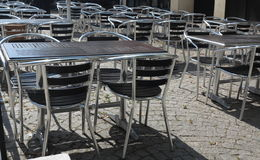 Outdoor restaurant  cafe chairs with table Royalty Free Stock Image