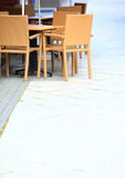 Outdoor restaurant  cafe chairs with table Royalty Free Stock Photos