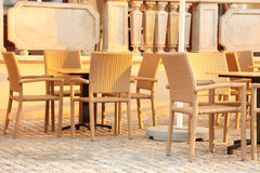 Outdoor restaurant chair. Outdoor restaurant - outdoor dining place Stock Photography