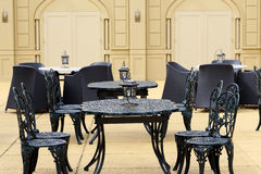 Outdoor restaurant coffee. Open air cafe chairs with table Royalty Free Stock Photography