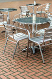 Outdoor restaurant coffee open air cafe chairs with table. Stock Photos