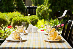 Outdoor restaurant dining table. Place setting stock photo