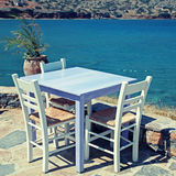 Outdoor restaurant in Greece Stock Photography