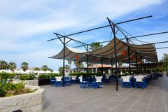 The outdoor restaurant at luxury hotel Royalty Free Stock Image
