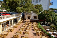 The outdoor restaurant in luxury hotel. The outdoor restaurant in a luxury hotel, Mallorca, Spain Stock Photo