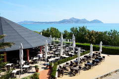 The outdoor restaurant in luxury hotel. Mallorca, Spain Royalty Free Stock Images