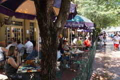 Outdoor Restaurant Market Square San Antonio. This outdoor restaurant area of San Antonio's Market Square was packed on Memorial Day afternoon.  Diners enjoyed Royalty Free Stock Images
