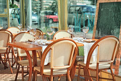 Outdoor restaurant in Menton, France. Stock Images