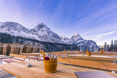 Outdoor restaurant in the mountains Royalty Free Stock Image