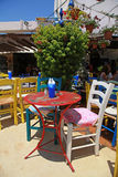 Outdoor restaurant with multicolored furniture (Crete, Greece ) Royalty Free Stock Photos