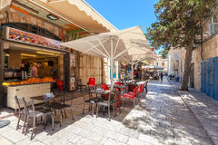 Outdoor restaurant in Muristan area, Jerusalem. Stock Images