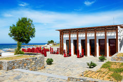 The outdoor restaurant near beach at luxury hotel Stock Photos