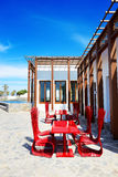 The outdoor restaurant near beach at luxury hotel Royalty Free Stock Image