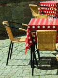 Outdoor restaurant open air cafe chairs with table Royalty Free Stock Image
