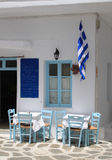 Outdoor Restaurant at Paros, Greece Royalty Free Stock Photography