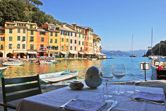 Outdoor restaurant in Portofino. Royalty Free Stock Photo