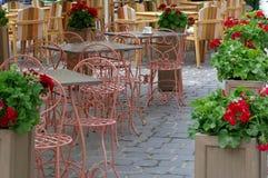 Outdoor restaurant. Restaurant terrace arrangement. Restaurant terrace arrangement. Outdoor restaurant on Republic Street in Brasov, Romania Stock Photo