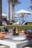 Outdoor restaurant on resort Stock Images