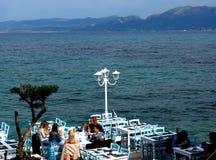 Outdoor Restaurant Santorini Greece Stock Photography
