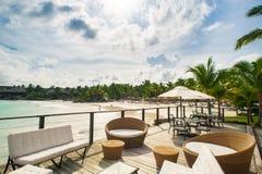Outdoor restaurant at the seashore. Table setting Stock Photo