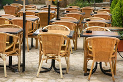 Outdoor restaurant seating Royalty Free Stock Images