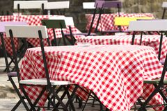 Outdoor restaurant in springtime Royalty Free Stock Images