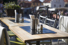 Outdoor restaurant table Royalty Free Stock Image