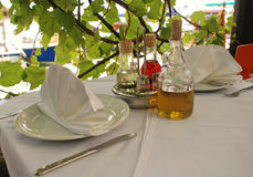 Outdoor restaurant table, Italy Royalty Free Stock Photography