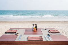 Outdoor restaurant table Stock Image