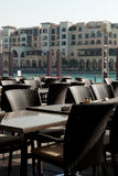 Outdoor restaurant tables Stock Photo