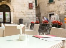 Outdoor restaurant tables Stock Image