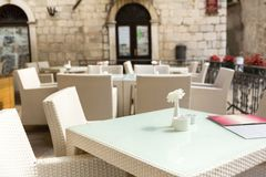 Outdoor restaurant tables Stock Photography