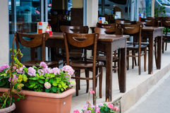 Outdoor Restaurant Tables And Chairs Stock Photography