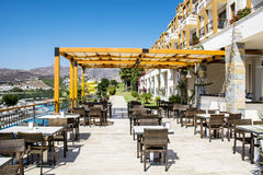 Outdoor  restaurant with tables and chairs Stock Photography