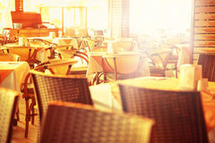 Outdoor restaurant tables Royalty Free Stock Images