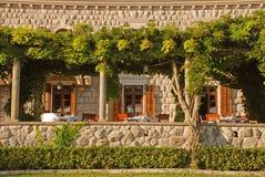 Outdoor restaurant terrace(Italy). Beautiful view with outdoor restaurant terrace (Italy Royalty Free Stock Photo