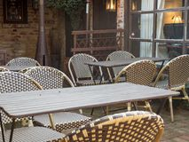 Outdoor restaurant waiting for customers Royalty Free Stock Images