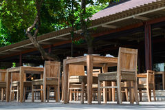 Outdoor restaurant in wooden ctyle Royalty Free Stock Photos