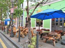 Outdoor restaurants along the streets in San Juan, Puerto Rico - March 9, 2017 - Restaurants in Old San Juan. Outdoor café in Old San Juan stock photo