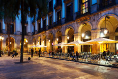 Outdoor restaurants at Placa Reial. Barcelona Royalty Free Stock Photos