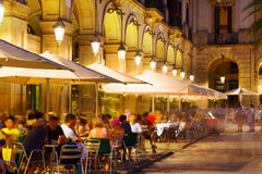 Outdoor restaurants at Placa Reial in night. Barcelona royalty free stock images