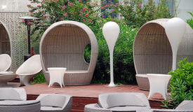 Outdoor restaurants. With rattan chairs Stock Image